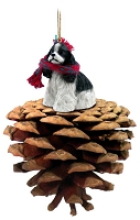 Cocker Spaniel Black White Pinecone Pet Ornament