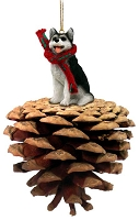 Husky Black & White w/Brown Eyes Pinecone Pet Ornament