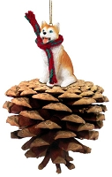 Husky Red & White w/Blue Eyes Pinecone Pet Ornament