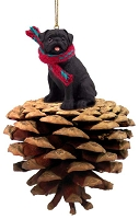 Pug Black Pinecone Pet Ornament