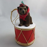Bear Brown Drum Ornament