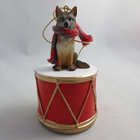 Fox Gray Drum Ornament