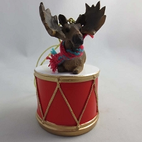 Moose Bull Drum Ornament