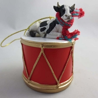 Holstein Bull Drum Ornament