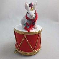 Rabbit White Drum Ornament