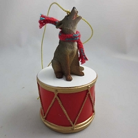 Wolf Timber Drum Ornament