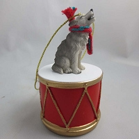 Wolf Gray Drum Ornament
