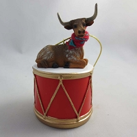 Long Horn Steer Drum Ornament