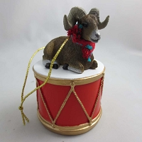 Big Horn Sheep Drum Ornament
