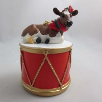 Guernsey Cow Drum Ornament