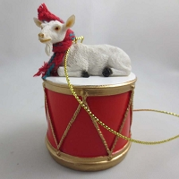 Goat White Drum Ornament