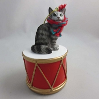 Short Hair Silver Tabby Drum Ornament