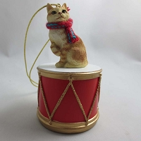 Manx Red Tabby Drum Ornament