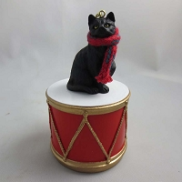 Short Hair Black Tabby Drum Ornament