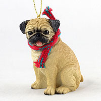 Pug Fawn Original Ornament, Large