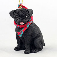 Pug Black Original Ornament, Large