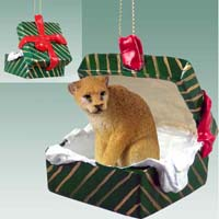 Cougar Gift Box Green Ornament
