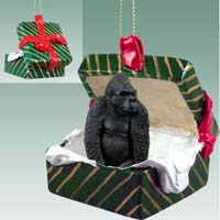 Gorilla Gift Box Green Ornament