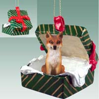 Fox Red Gift Box Green Ornament