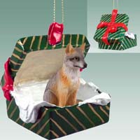 Fox Gray Gift Box Green Ornament