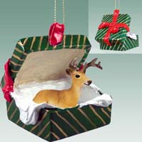 Deer Buck Gift Box Green Ornament