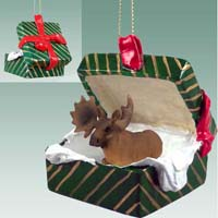 Moose Bull Gift Box Green Ornament