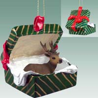 Elk Bull Gift Box Green Ornament