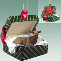 Elk Cow Gift Box Green Ornament