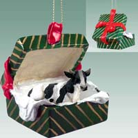 Holstein Bull Gift Box Green Ornament