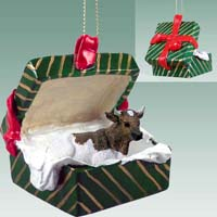 Guernsey Bull Gift Box Green Ornament