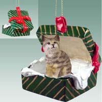 Bobcat Gift Box Green Ornament