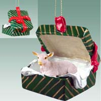 Goat White Gift Box Green Ornament
