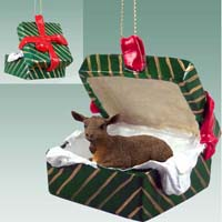Goat Brown Gift Box Green Ornament