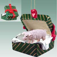 Pig Pink Gift Box Green Ornament