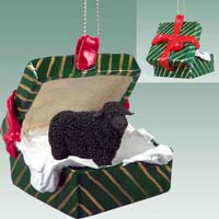Sheep Black Gift Box Green Ornament