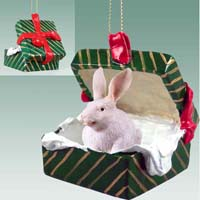 Rabbit White Gift Box Green Ornament