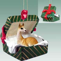 Llama Gift Box Green Ornament