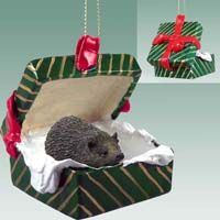 Hedgehog Gift Box Green Ornament