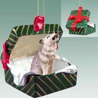 Wolf Gray Gift Box Green Ornament