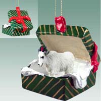 Mountain Goat Gift Box Green Ornament