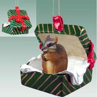 Chipmunk Gift Box Green Ornament
