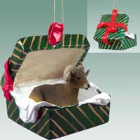 Big Horn Sheep Gift Box Green Ornament