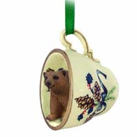 Bear Brown Tea Cup Green Holiday Ornament