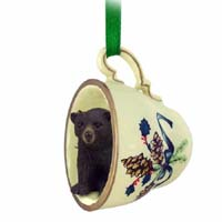 Bear Black Tea Cup Green Holiday Ornament
