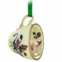 Bear Polar Tea Cup Green Holiday Ornament