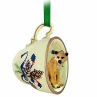 Lioness Tea Cup Green Holiday Ornament