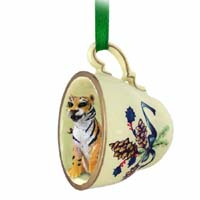 Tiger Tea Cup Green Holiday Ornament