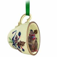 Mandrill Tea Cup Green Holiday Ornament