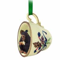 Chimpanzee Tea Cup Green Holiday Ornament