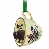 Buffalo Tea Cup Green Holiday Ornament